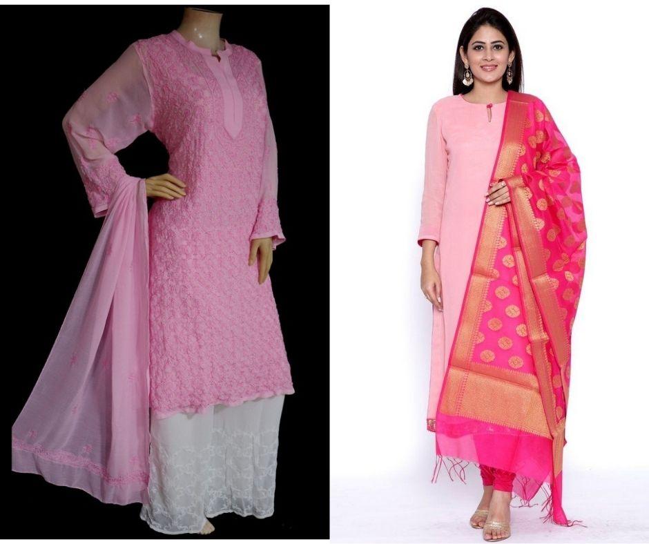 Pink kurti with a dupatta