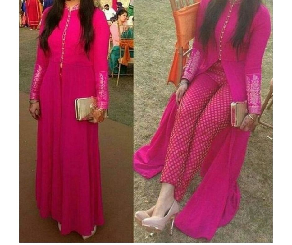 pink kurti with Straight fitted pants