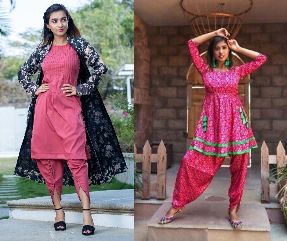 pink kurti with dhoti pants