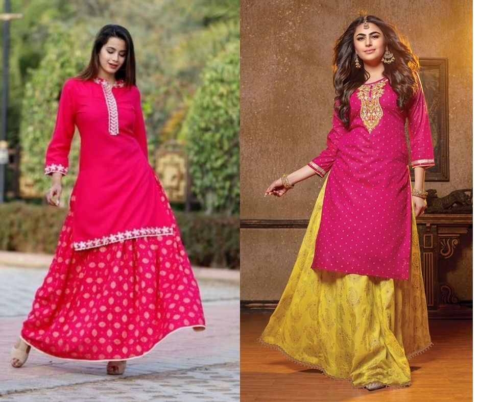 pink kurti with a skirt